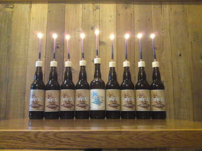 beer bottle menorah